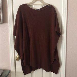 Vince Brown Knit Wool Cashmere Sweater Poncho